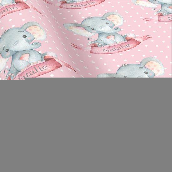 Personalized Name Elephant Baby Girl Pink and Gray
