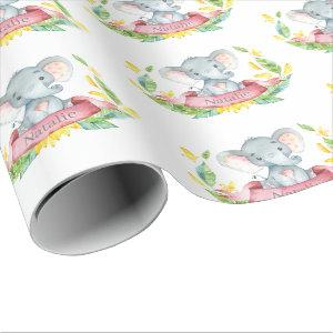 Personalized Name Elephant Baby Girl Pink and Gray Wrapping Paper