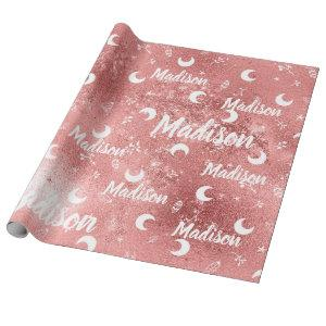 Personalized Name Fairy Pink Rose Gold Girl Wrapping Paper