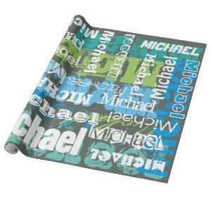 Personalized Name Gray Blue Green Subway Art Wrapping Paper