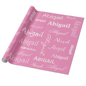 Personalized Name Pink and White Wrapping Paper