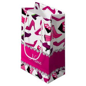 Personalized name pink white women's shoes pattern small gift bag