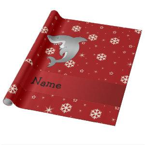 Personalized name shark red snowflakes wrapping paper