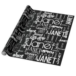 Personalized Name Typography Black & White Wrapping Paper