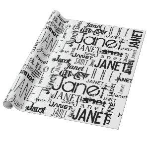 Personalized Name Typography Black Wrapping Paper