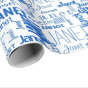 Personalized Name Typography Blue Wrapping Paper