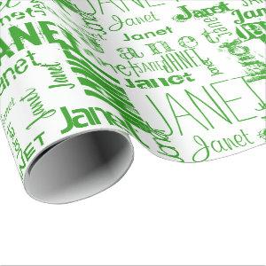 Personalized Name Typography Green Wrapping Paper