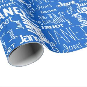 Personalized Name Typography White Blue Wrapping Paper