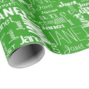 Personalized Name Typography White Green Wrapping Paper