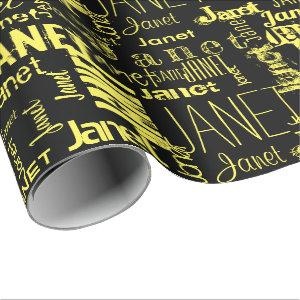 Personalized Name Typography Yellow Black Wrapping Paper