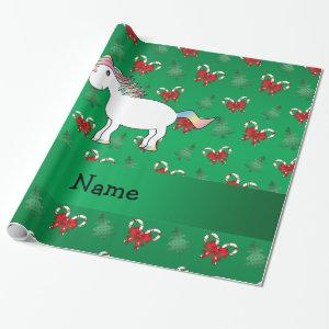 Personalized name unicorn green candy canes bows wrapping paper