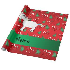 Personalized name unicorn red candy canes bows wrapping paper