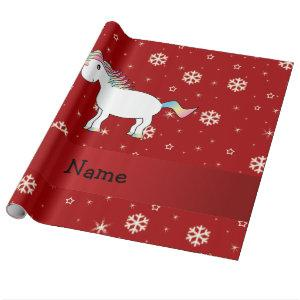 Personalized name unicorn red snowflakes wrapping paper