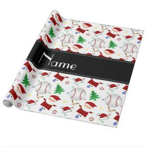 Personalized name white baseball christmas wrapping paper
