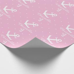 Personalized nautical anchor 1st birthday girl wrapping paper