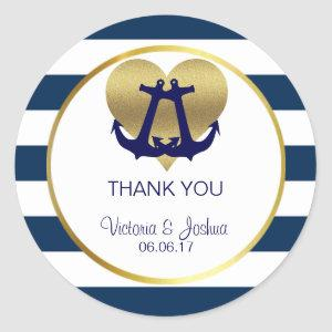 Personalized Nautical Navy Gold Heart Wedding Classic Round Sticker