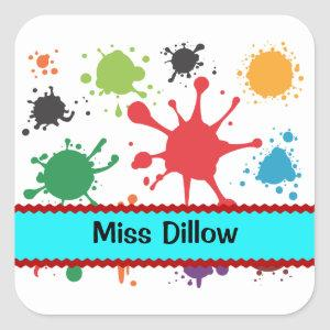 Personalized Paint Splatter Stickers Template