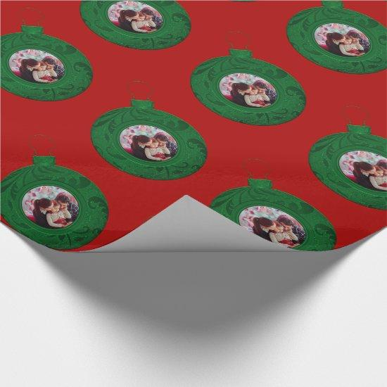 Personalized Photo Christmas Red Green Custom Wrapping Paper