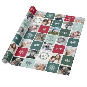 Personalized Photo & Monogram Holiday Wrapping Paper