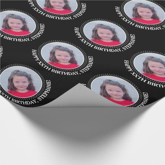 Personalized Photo with Birthday Greeting - Black Wrapping Paper