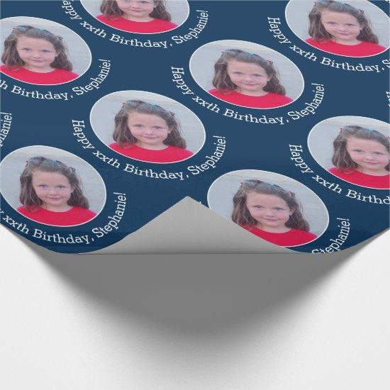 Personalized Photo with Birthday Greeting - Navy Wrapping Paper