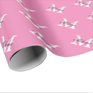 Personalized pink name monogram wrapping paper