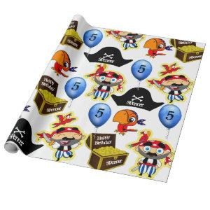 Personalized Pirate Birthday Wrapping Paper