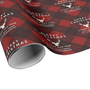 Personalized Red & Black Plaid Deer Christmas Wrapping Paper