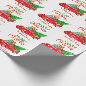Personalized Retro Pick-up Truck Christmas Tree Wrapping Paper