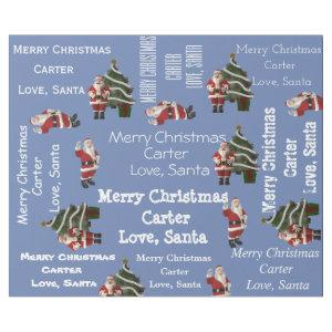Personalized Santa Christmas Blue Wrapping Paper