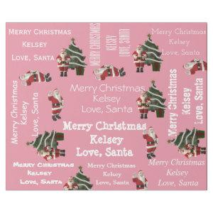 Personalized Santa Christmas Pink Wrapping Paper
