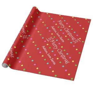 Personalized Santa Christmas Stars Wrapping Paper