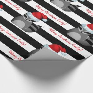 Personalized Santa Raccoon Striped Wrapping Paper