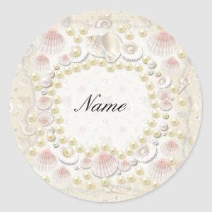 Personalized Seashells and Pearls Classic Round Sticker