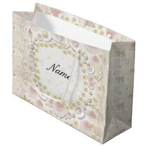 Personalized Seashells and Pearls Large Gift Bag
