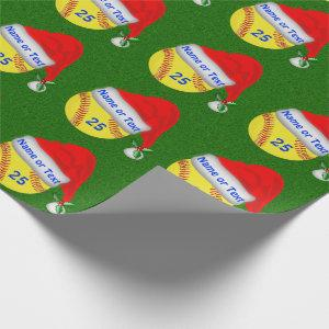 Personalized Softball Christmas Wrapping Paper