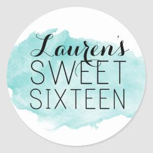 Personalized Sweet 16 Watercolor Favor Stickers