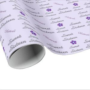Personalized Sweet Sixteen Wrapping Paper