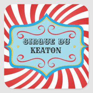 Personalized Vintage Circus Party Stickers