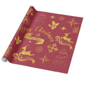 Personalized Vintage Gold Christmas Wrap Wrapping Paper