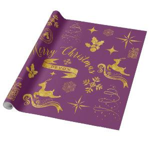 Personalized Vintage Gold & Purple Christmas Wrap Wrapping Paper