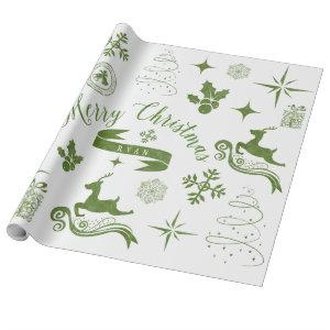 Personalized Vintage Green & White Christmas Wrap Wrapping Paper