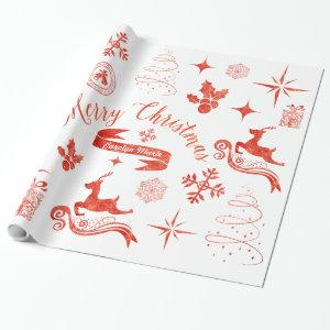 Personalized Vintage Red & White Christmas Wrap Wrapping Paper