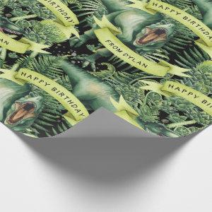 Personalized Watercolor T-Rex Dinosaur Birthday Wrapping Paper
