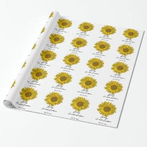 Personalized Yellow Sunflower Sweet 16 Birthday Wrapping Paper