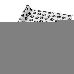 pet paw print pattern black and white wrapping paper