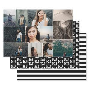 Photo Collage Monogram Black White Wrapping Paper Sheets
