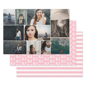 Photo Collage Monogram PInk White Wrapping Paper Sheets