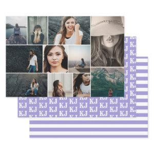 Photo Collage Monogram Purple White Wrapping Paper Sheets