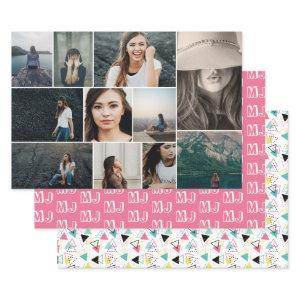Photo Collage Pink Monogram Geometric Pattern Wrapping Paper Sheets